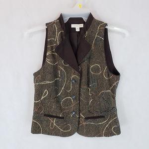 Coldwater Creek 8 Vest Wool Blend Velvet Collar